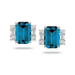 London Blue Topaz and Diamond Studs