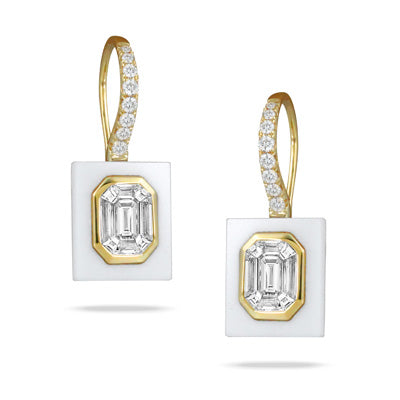 18K Yellow Gold Diamond and White Agate Earrings