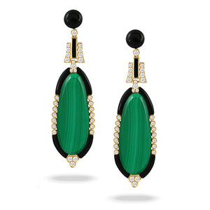18K Yellow Gold Diamond, Malachite and Black Onyx Earrings