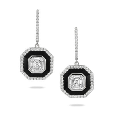 Le Mondrian 18K White Gold Invisible Set Diamond Earrings.