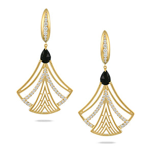 18K Yellow Gold Diamond and Onyx Earrings