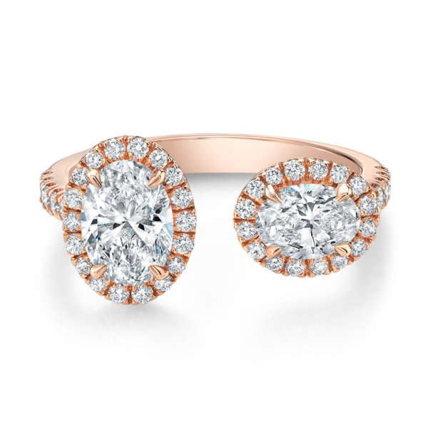 Double Oval Fashion Diamond Ring in 18K Rose Gold