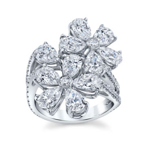 Flower Bouquet Pear Shaped Diamond Ring in 18K White Gold