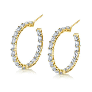 Emerald Cut Diamond Hoop Earrings in Yellow Gold
