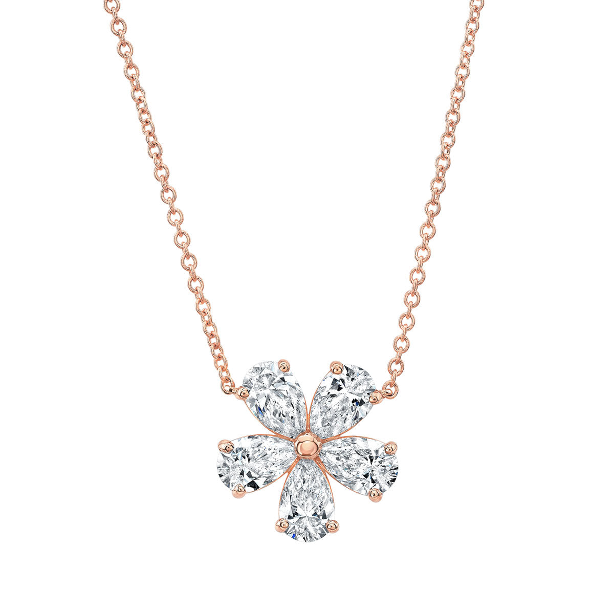 Pear Diamond Shaped Flower Pendant in Rose Gold