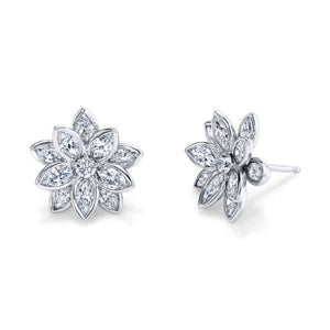 Flower Marquis Diamond Studs