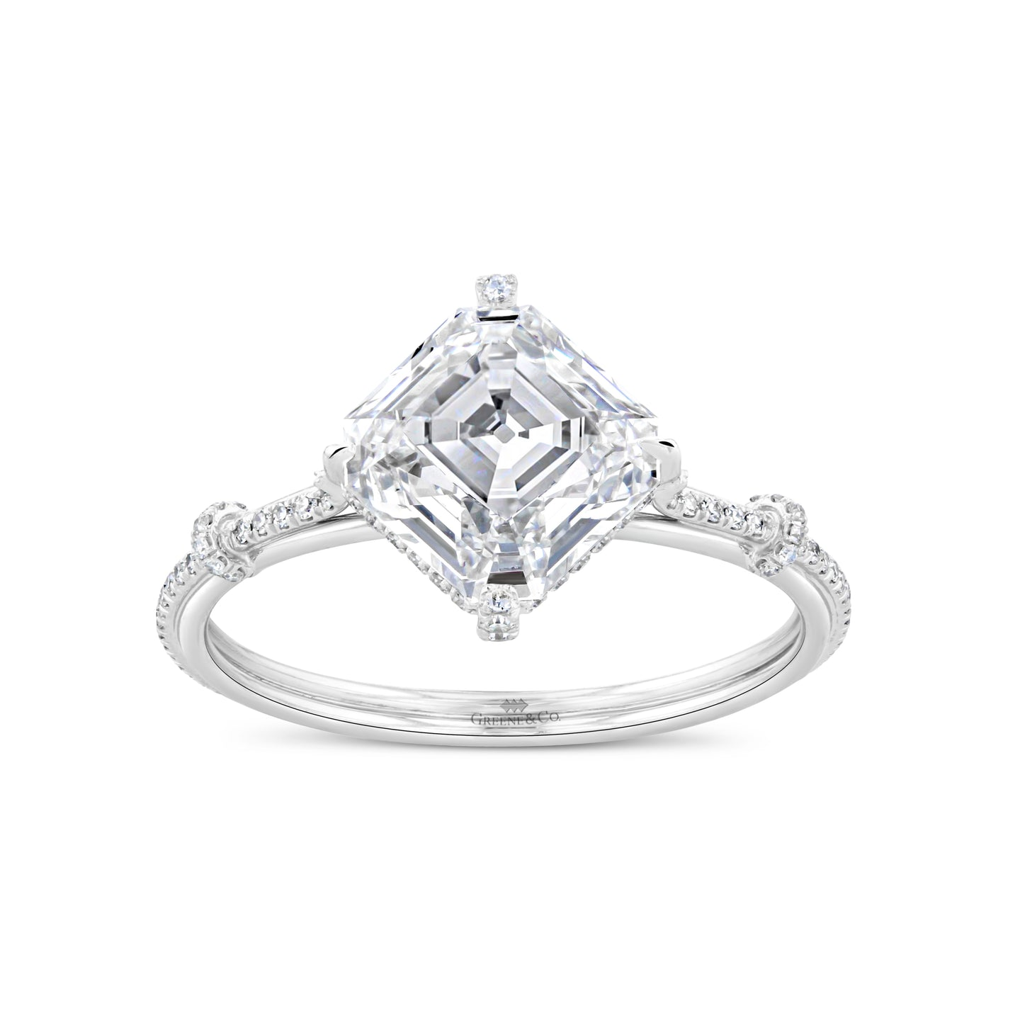 Platinum Asscher and Round Diamond Engagement Ring