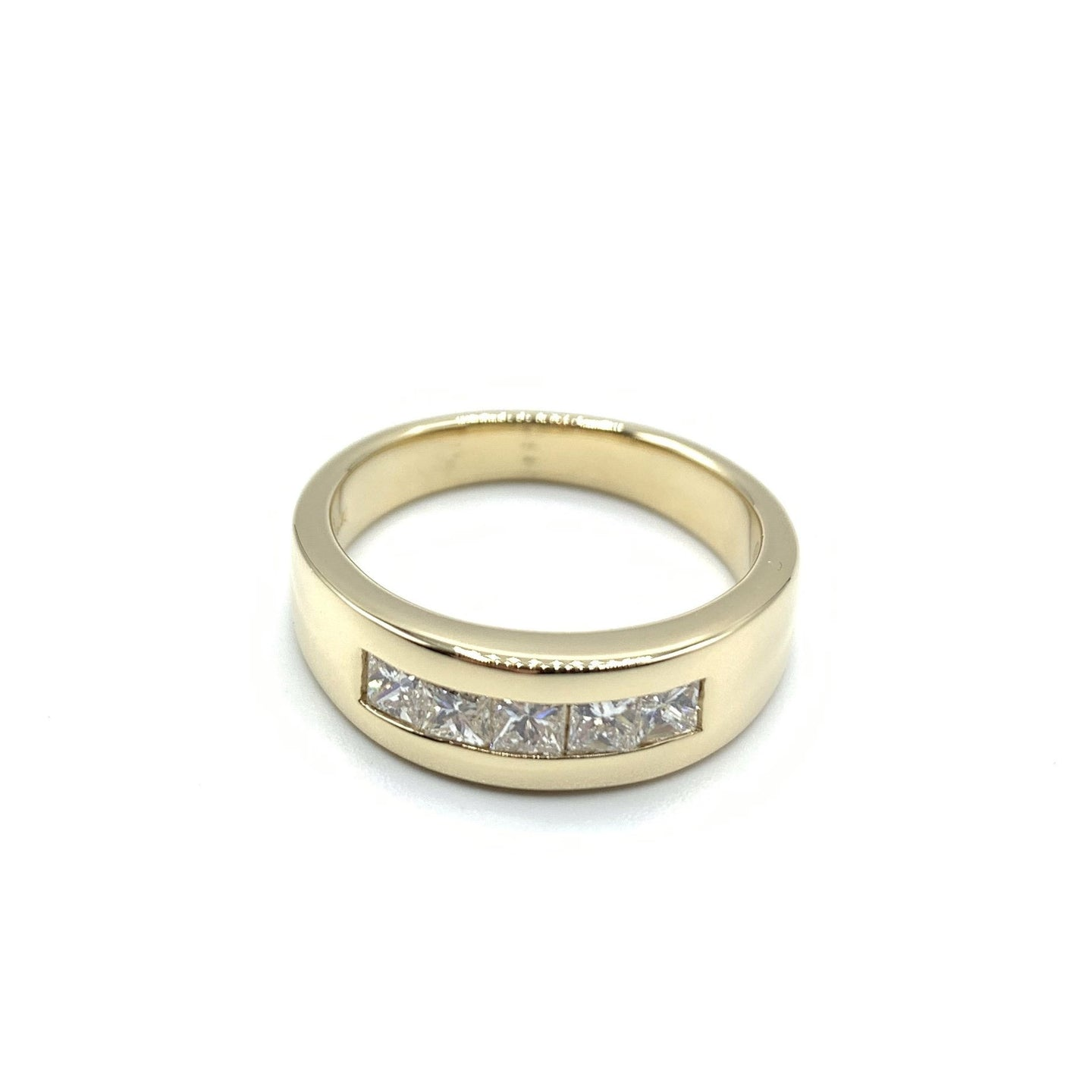 Yellow Gold Band with 5 Princess Cut Diamonds