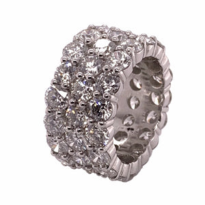 Platinum 3-Row Eternity Round Diamond Band