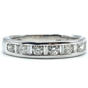 Round and Baguette Half Way Diamond Ring