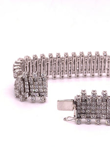 18KW White Gold Round Diamond Bracelet