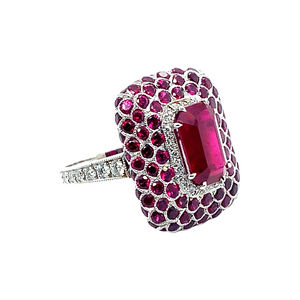 Platinum Center Ruby and Diamond Ring
