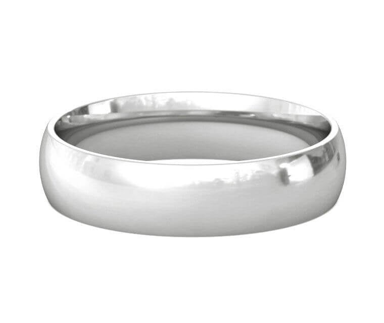14K White Gold Half Round Band 5mm