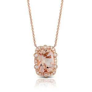 Dreamy Morganite and Diamond Pendant