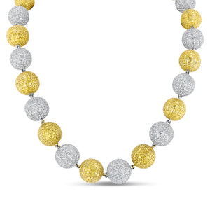 18K Yellow and White Gold Necklace with White and Yellow Pave Diamond Balls