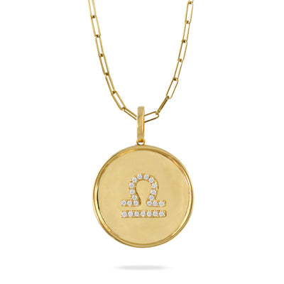 Libra 18K Yellow Gold Diamond Pendant