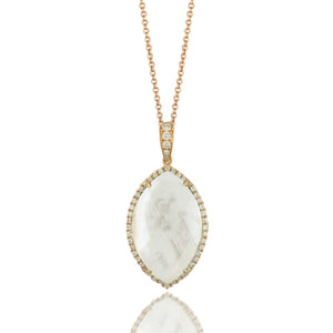 18K Yellow Gold Diamond Necklace with Clear Quartz over White Mother of Pearl