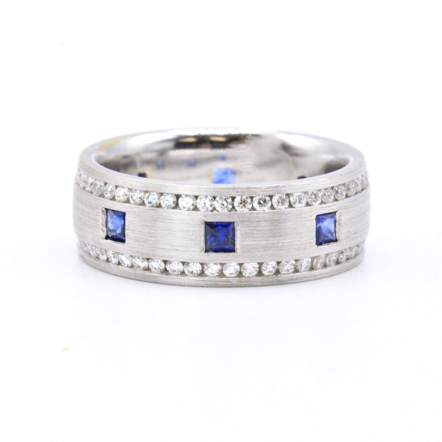 18K White Gold Brushed Finish Band with Sapphires and Diamonds
