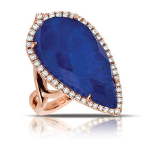 Load image into Gallery viewer, White Topaz & Lapis Lazuli Ring