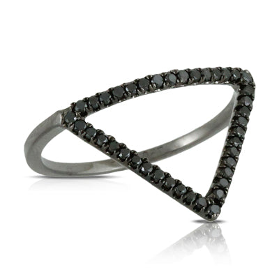 18K White Gold and Black Rhodium Triangle Ring