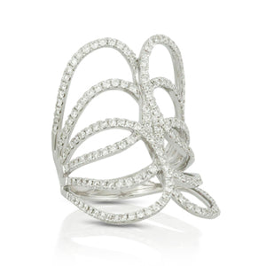 18K White Gold Open Diamond Ring