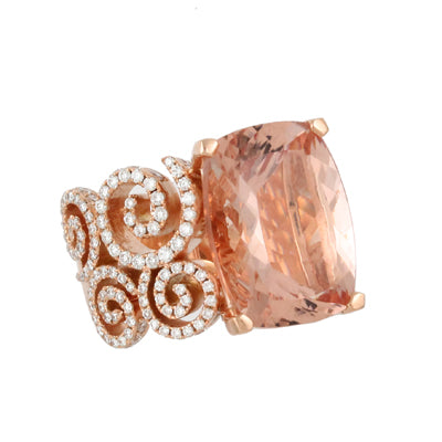 Rose Gold Diamond and Morganite Center Ring