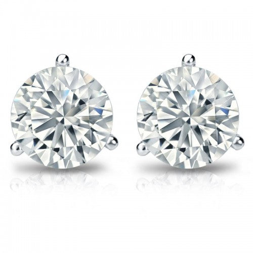 18K White Gold 2 Carat 3-Prong Martini Setting Stud Earrings