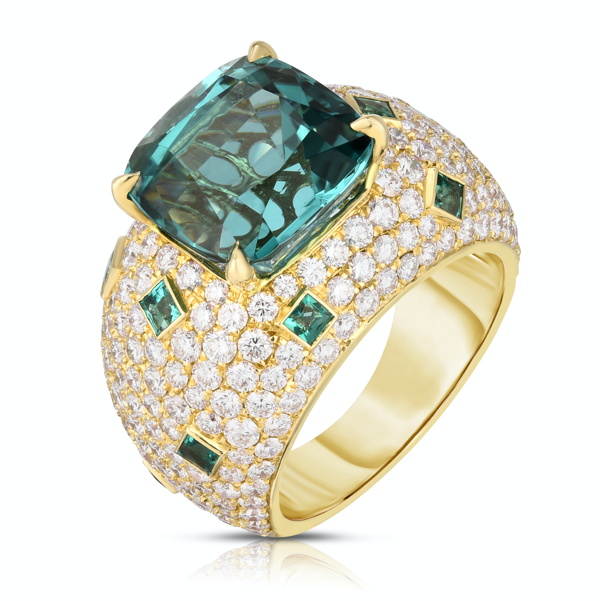 18K Yellow Gold Tourmaline, Diamond and Emerald Ring