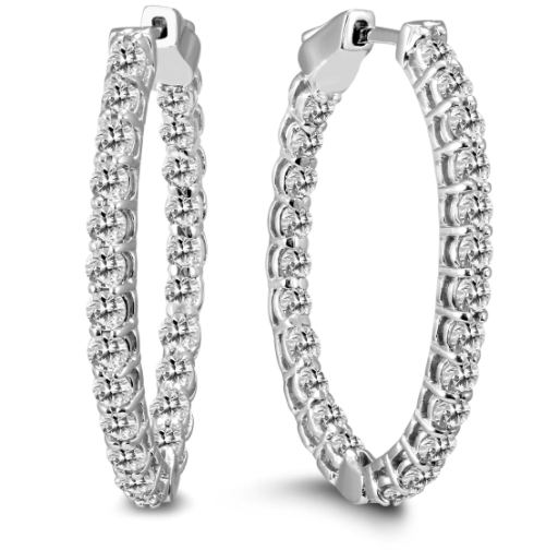 18K White Gold Round Brilliant Cut Diamond Hoops