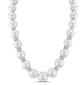 White South Sea Pearl and Diamond Necklace
