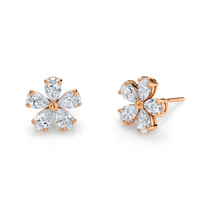 Pear Shaped Diamond Flower Studs