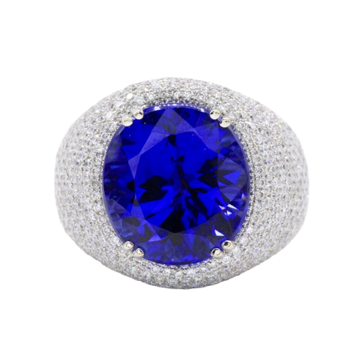 18K White Gold Oval Tanzanite and Diamond Ring