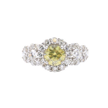 Load image into Gallery viewer, 18K White Gold Round Brilliant & Fancy Intense Yellow Diamond Ring