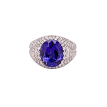 Load image into Gallery viewer, 18K White Gold Oval Tanzanite & Diamond Ring