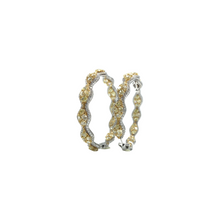 Load image into Gallery viewer, 18K White and Yellow Gold Diamond Hoops