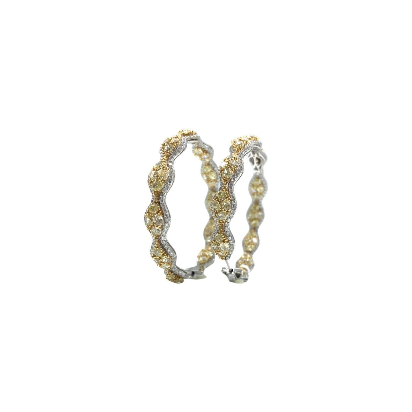 18K White and Yellow Gold Diamond Hoops
