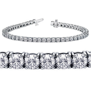 18K White Gold Round Brilliant Diamond Tennis Bracelet