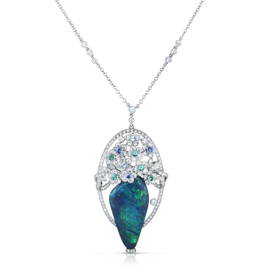 Opal Pendant with Diamonds, Emerald and Sapphire