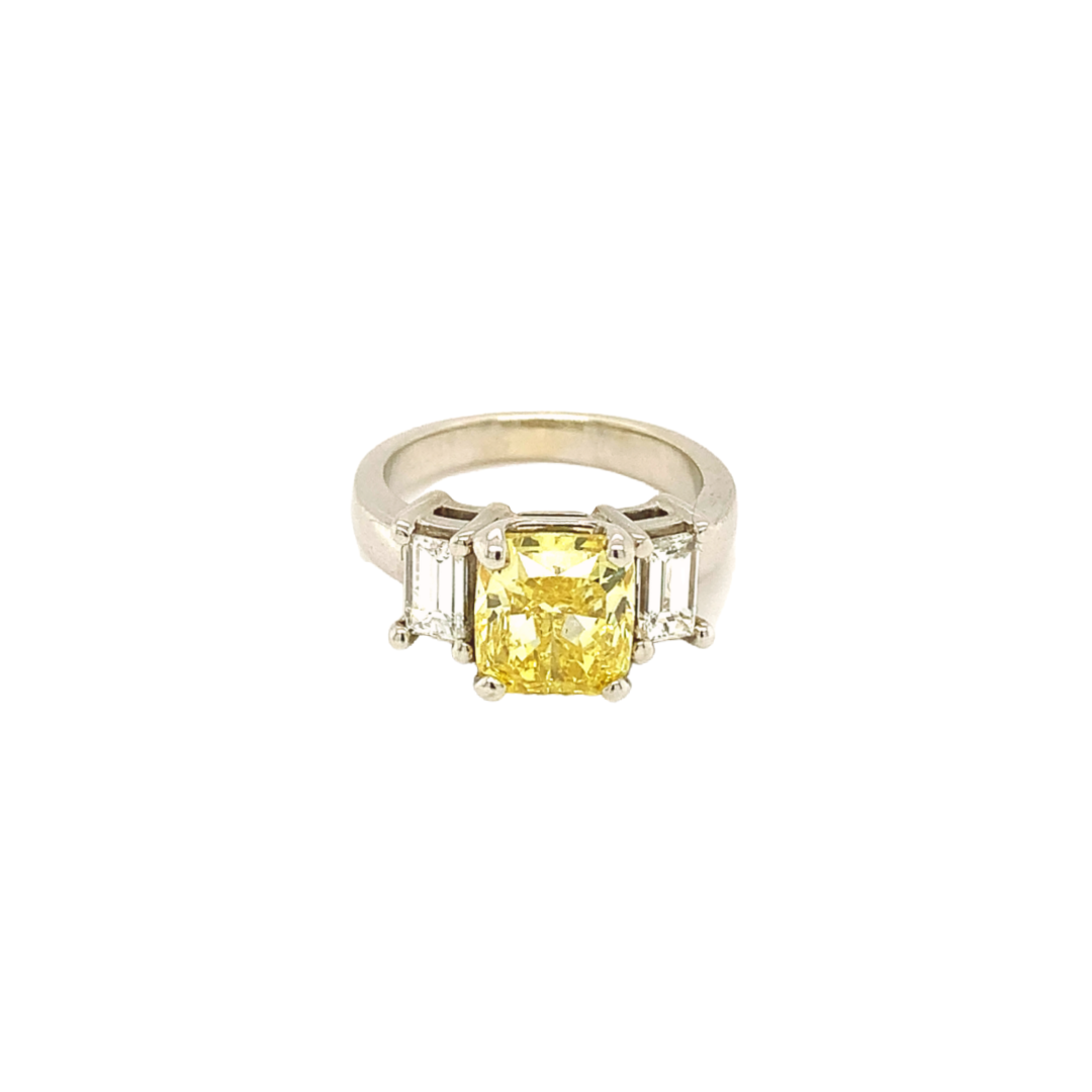 14K White Gold Ring with Fancy Vivid Yellow Diamond