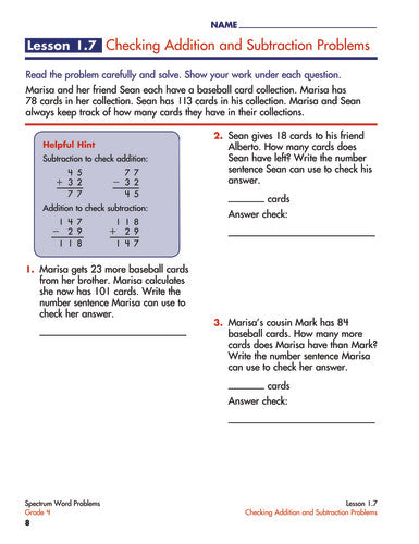 SPECTRUM COMMON CORE WORD PROBLEMS GRADE 4