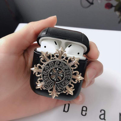 AirPods Case Gothic Chrome Heart Style Skull Wing Leather AirPods 1 & 2 Case