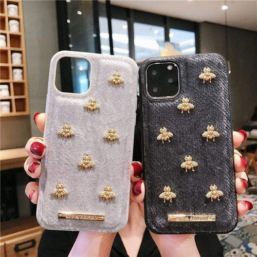 iPhone 11 Gucci Style Classic Bee Leather Designer iPhone Case For iPhone 11 Pro Max X XS XS Max XR 7 8 Plus