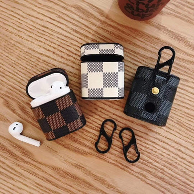 AirPods Case Louis Vuitton Style Damier Leather Box AirPods 1 & 2 Case
