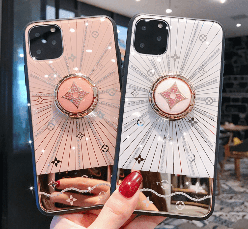 iPhone 11 Louis Vuitton Style Glossy Ring Holder Designer iPhone Case For iPhone 11 Pro Max X XS XS Max XR 7 8 Plus