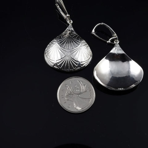 KISS Chunky Teardrop sterling silver etchings on sterling silver Leverback hooks