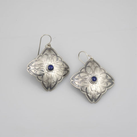 Earrings E371 Art Nouveau Diamond with Lapis Lazuli etched Sterling Silver