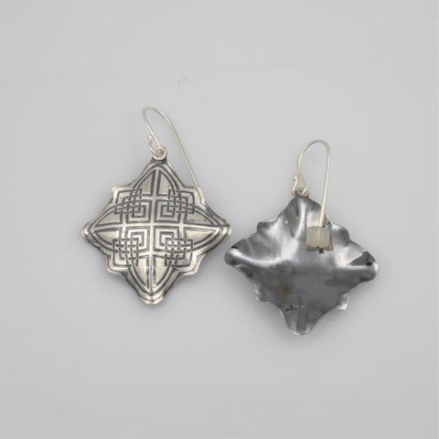 Earrings E379 Celtic Diamond etched Sterling Silver hand Formed Concave and Convex