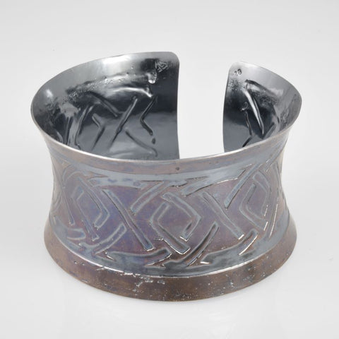 C159 Wide Sterling Silver Cuffs, 92.5 SS, hand-formed, Art Deco etching, Burgundy & Antiqued Bronze patina
