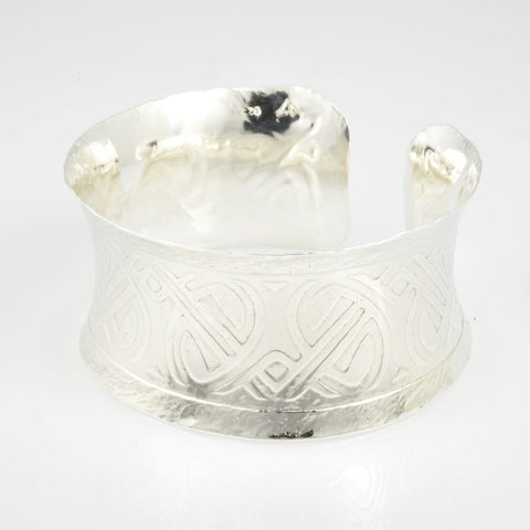 C168.30s Wide Sterling Silver Cuffs, 92.5 SS, hand-formed, Art Deco etching and patinated