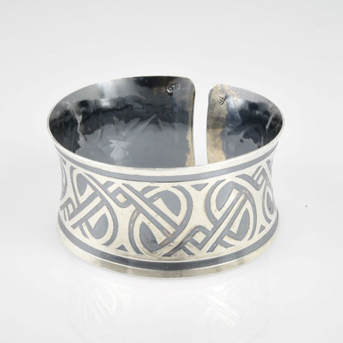 C168.30bs Wide Sterling Silver Cuffs, 92.5 SS, hand-formed, Art Deco etching and patinated